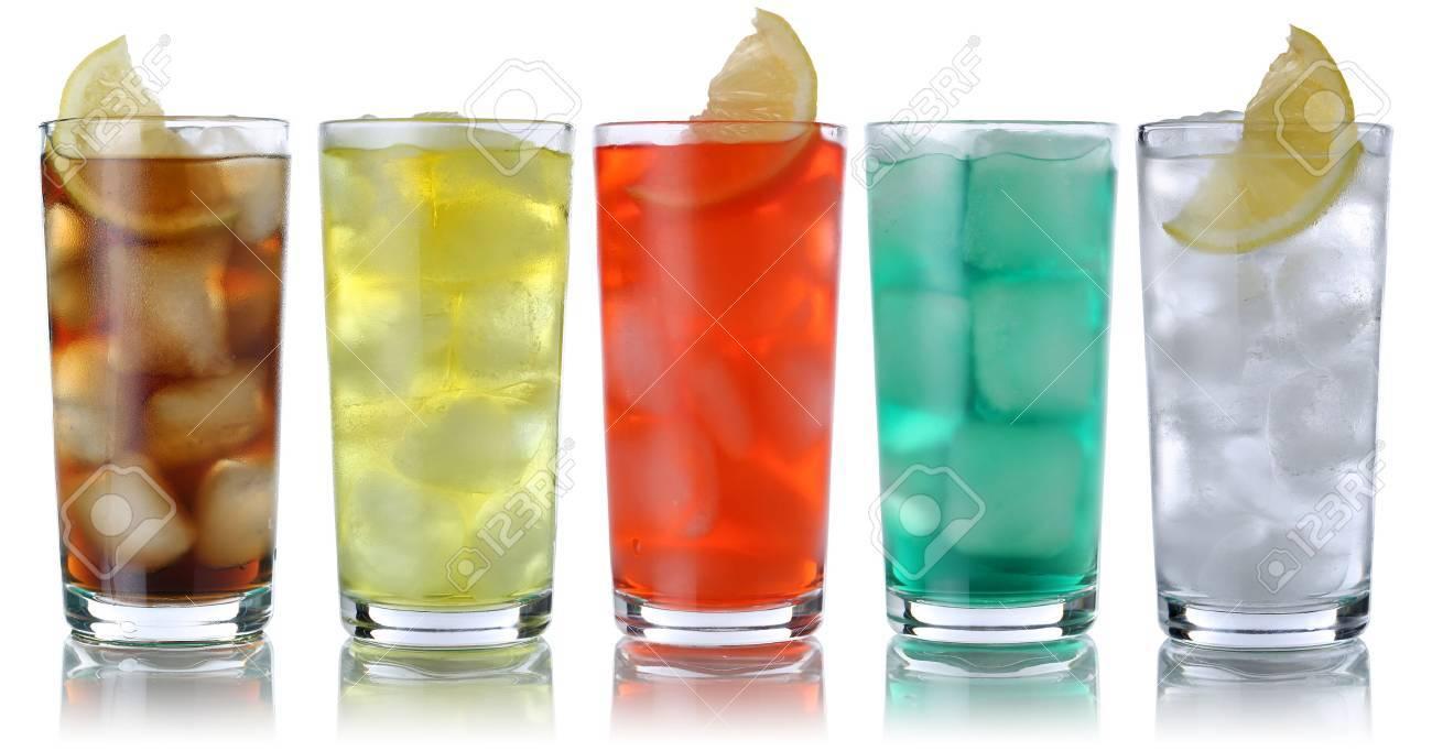 Soda Getränke Mit Cola Und Limonade, Isoliert Auf Einem Weißen ...