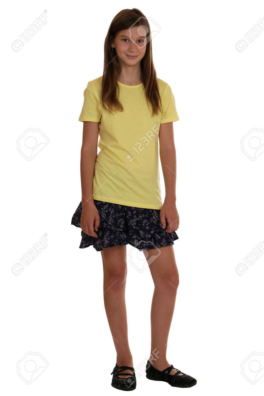 Full body portrait of a young girl isolated on a white background stock photo 31208452