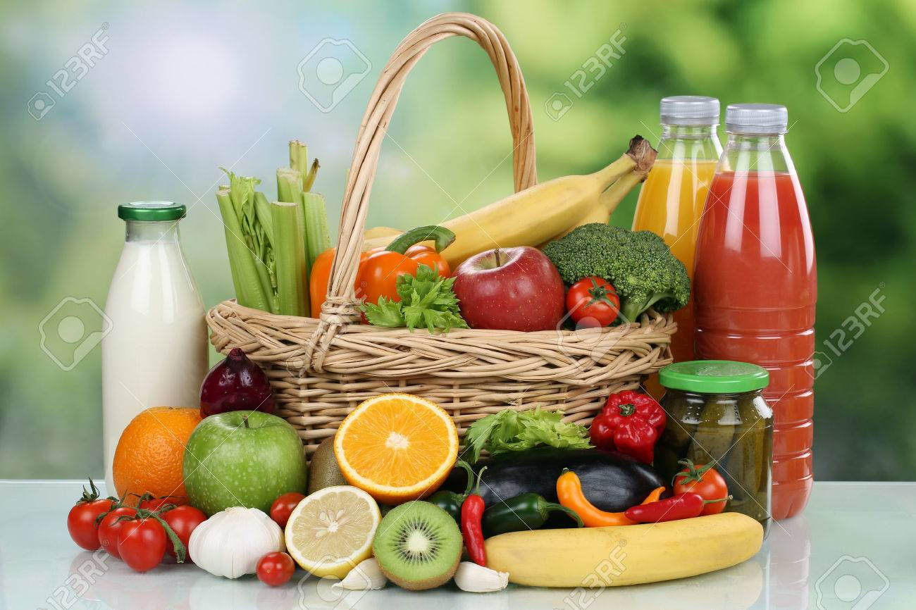 Fruits, Vegetables, Groceries And Beverages In A Shopping Basket Stock  Photo   32837254