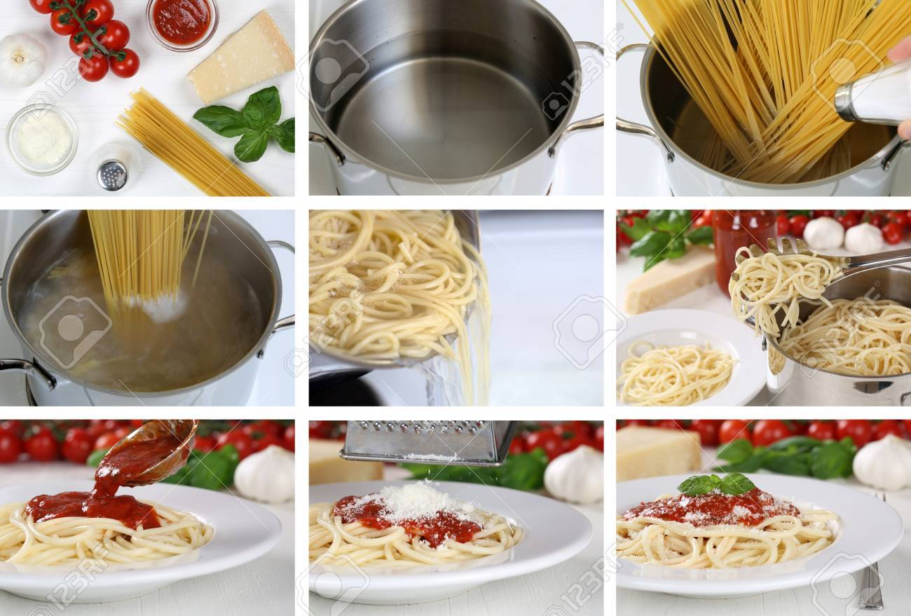 Cooking Spaghetti Noodles Pasta With Tomato Sauce And Basil Stock Photo Picture And Royalty Free Image Image 33519530