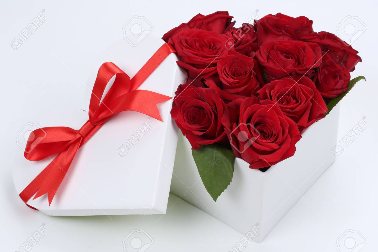 Gift Box In Heart Shape With Roses For Birthday Gifts Valentines Or Mothers Day Stock