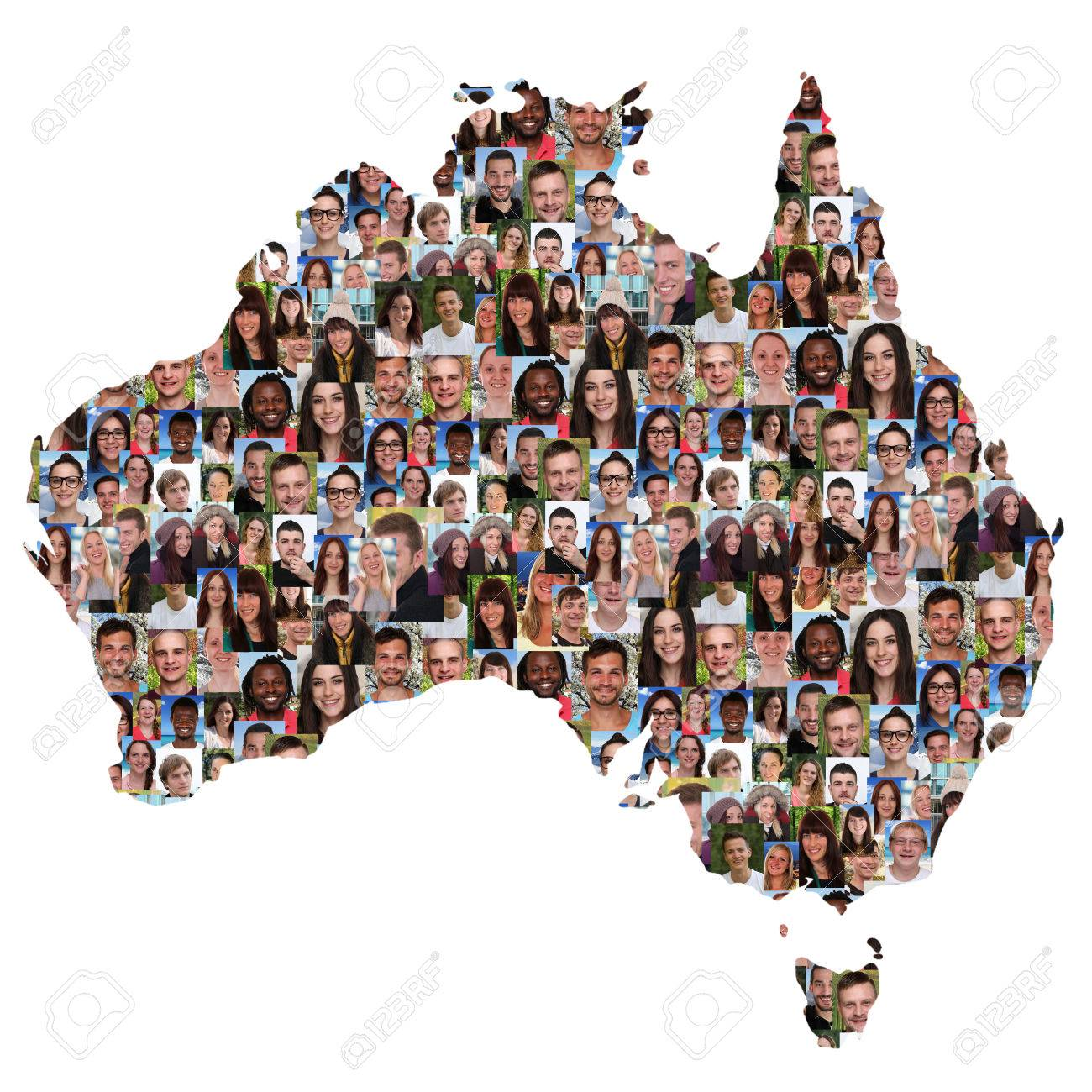 Young Australia Map.Australia Map Multicultural Group Of Young People Integration