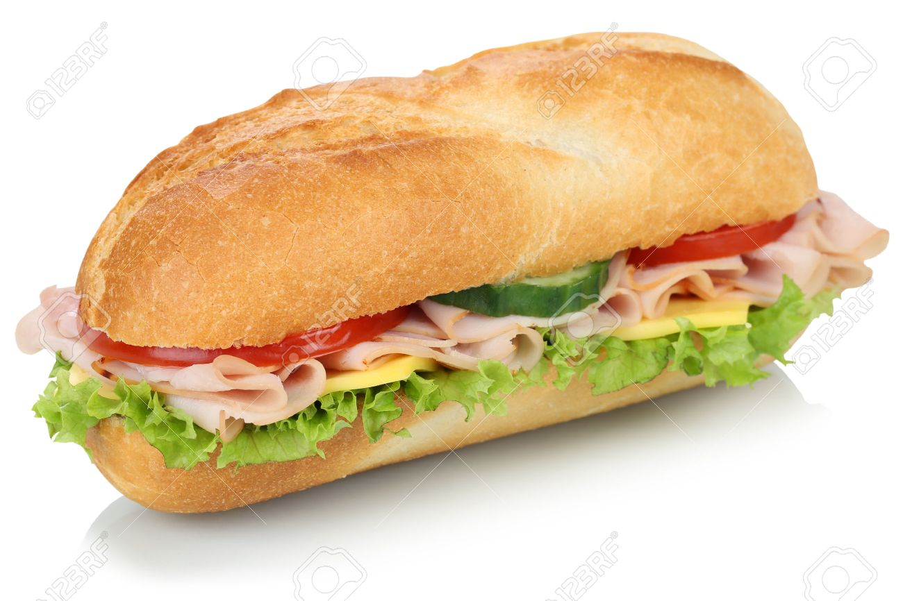 sub deli sandwich baguette with ham cheese tomatoes and lettuce