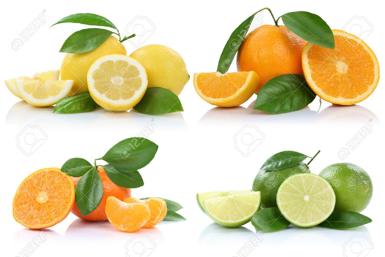 Collection of oranges mandarins lemons fruits isolated on a white background - 56741365