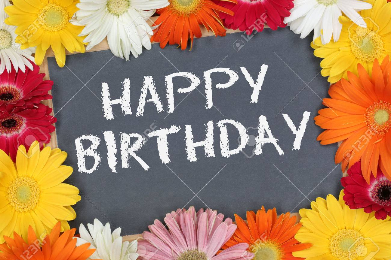 Happy Birthday Card Garden With Colorful Flowers Flower Board