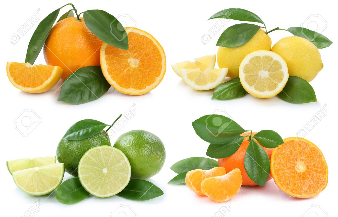 Collection of oranges lemons fruits isolated on a white background - 56741736