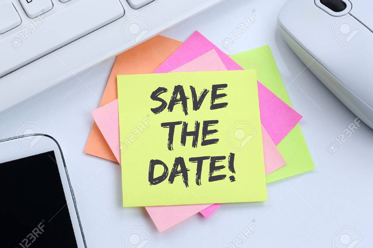 save the date invitation message information desk computer keyboard stock photo