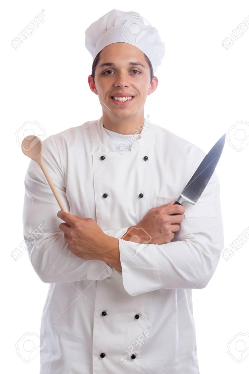 Aprendiz De Cocina En Prácticas De Empleo Cocinar Con Cuchillo Joven ...