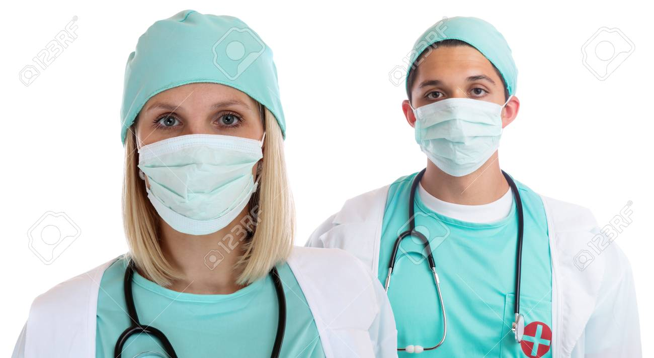 Man Doctors Young Mask Face Portrait Doctor Occupation Woman Team With