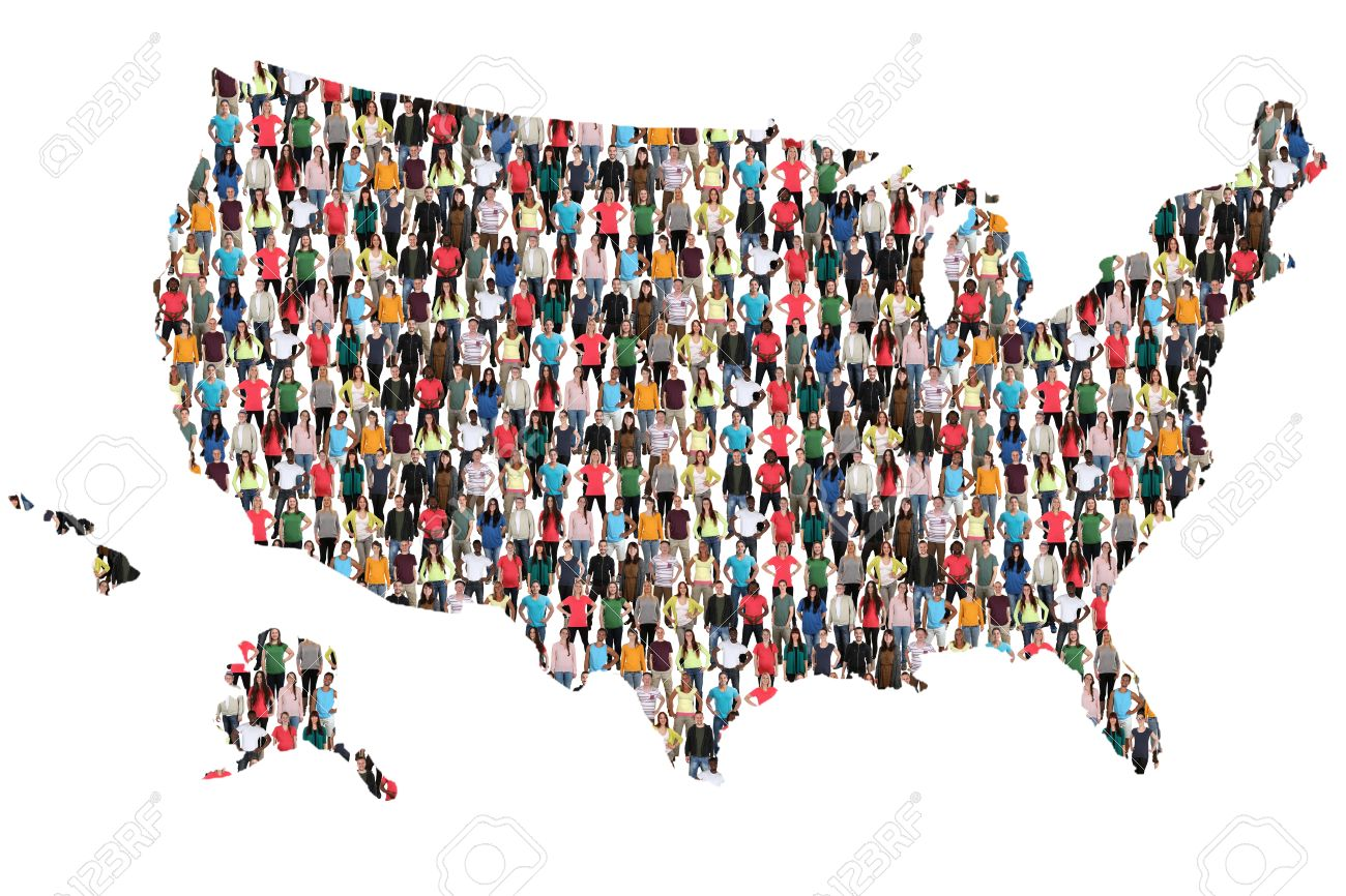 USA United States Map Multicultural Group Of People Integration - Us map with people