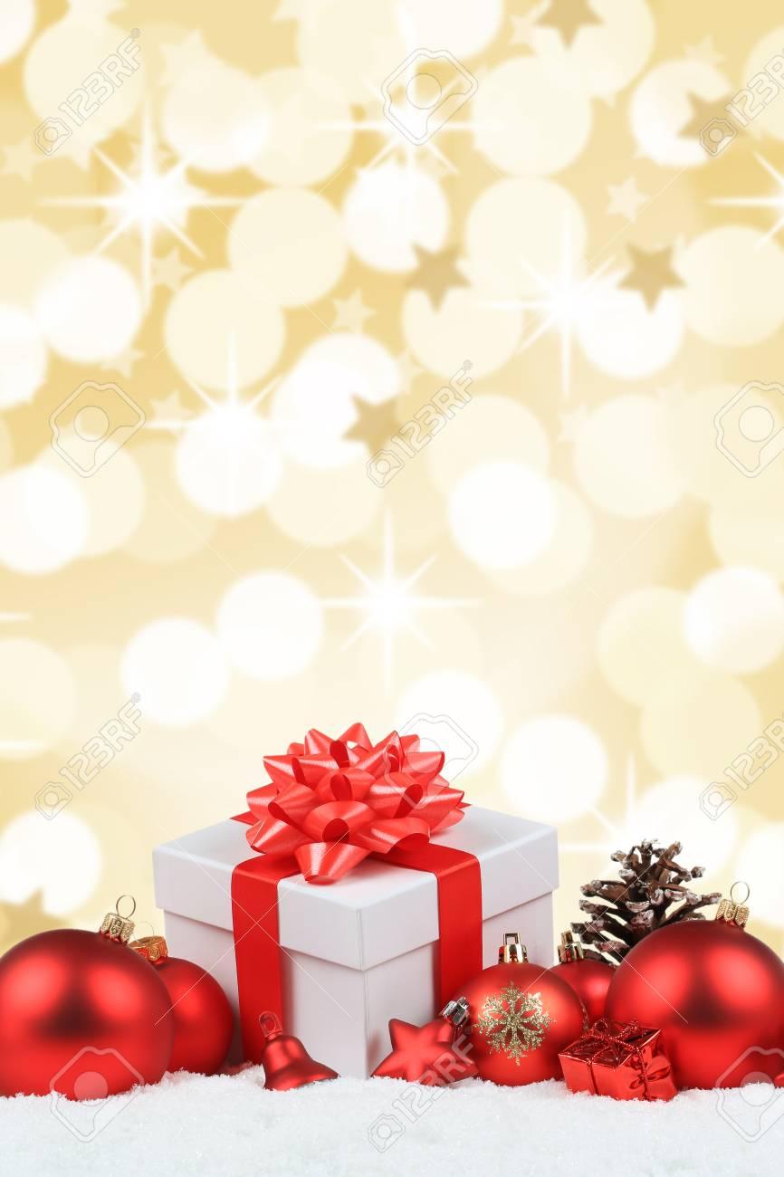 Christmas Background Portrait.Christmas Gifts Presents Balls Decoration Golden Background Portrait