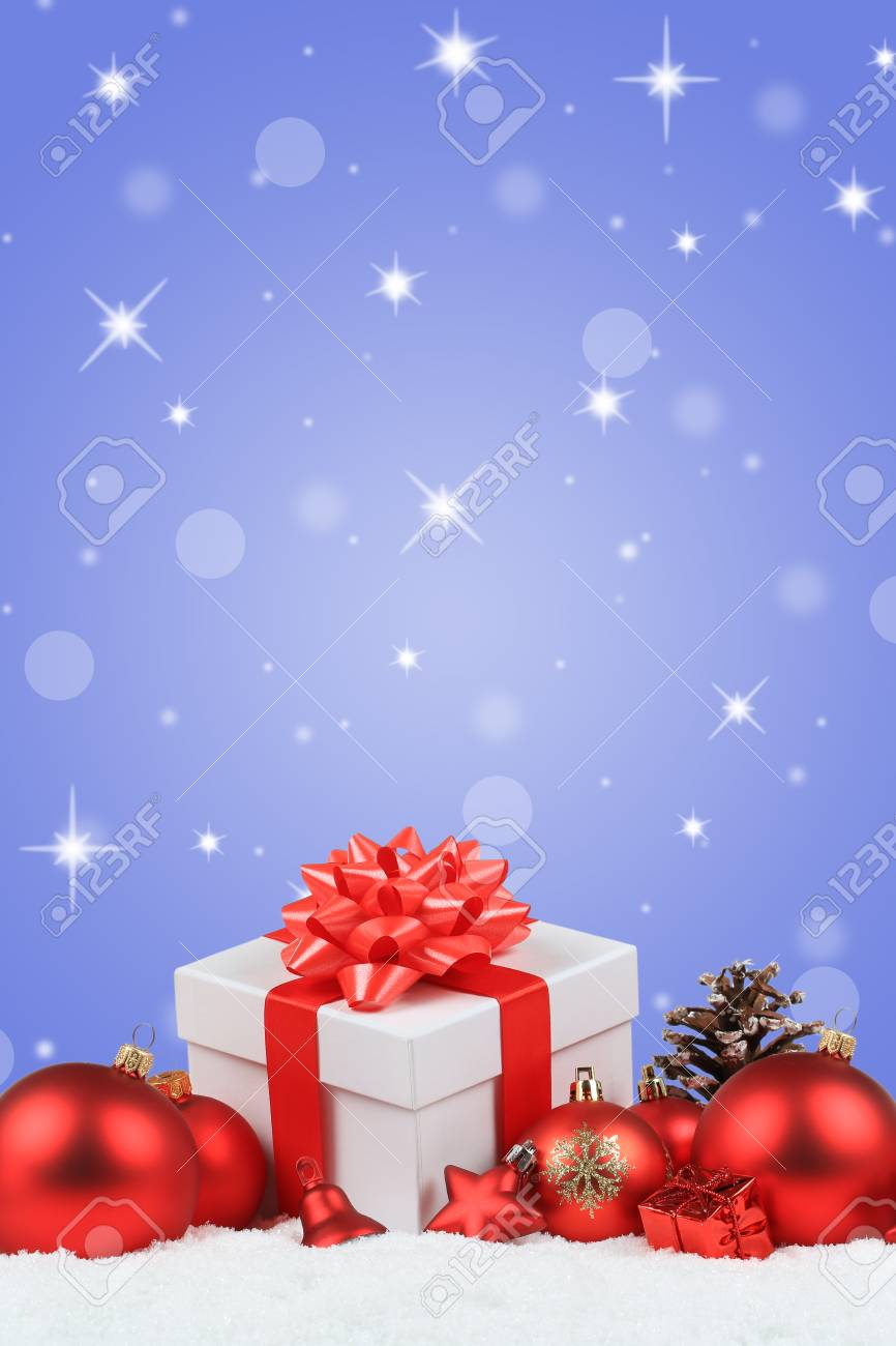 Christmas Background Portrait.Christmas Gifts Presents Balls Decoration Snow Winter Star Background