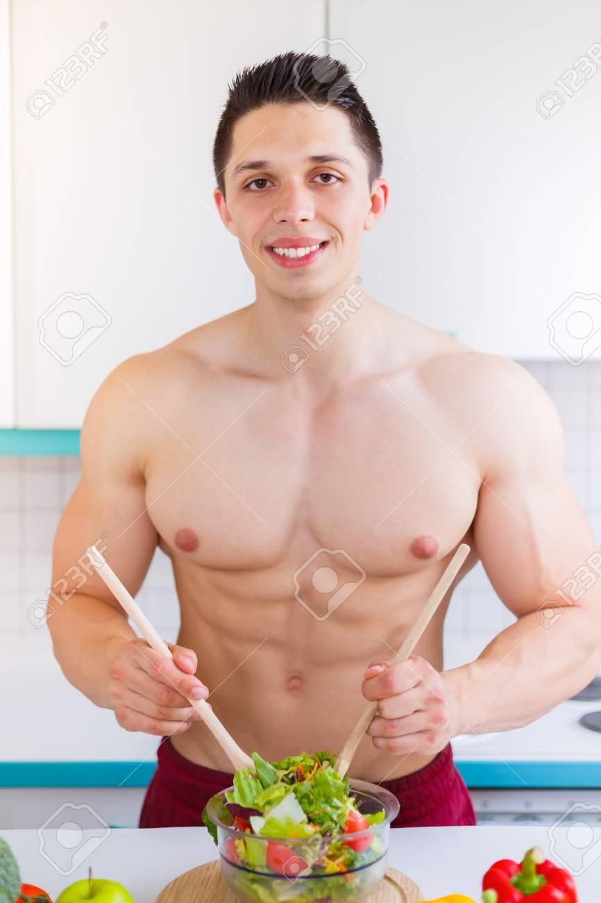 Preparing Salad Food Lunch Vegetables Man Bodybuilder Healthy Stock Photo Picture And Royalty Free Image Image 100104949