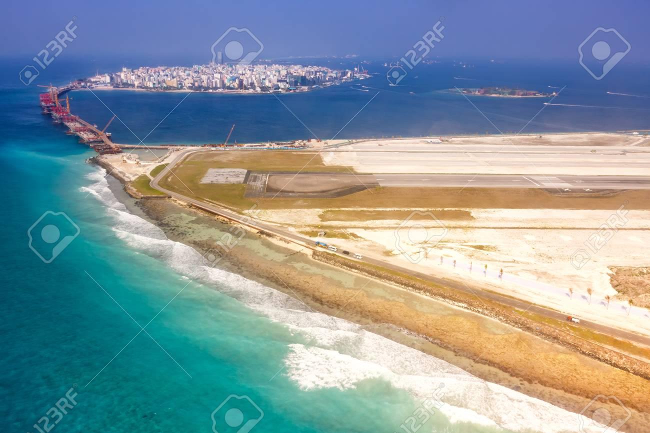Airport Maldives Male City Island Aerial Photo Sea