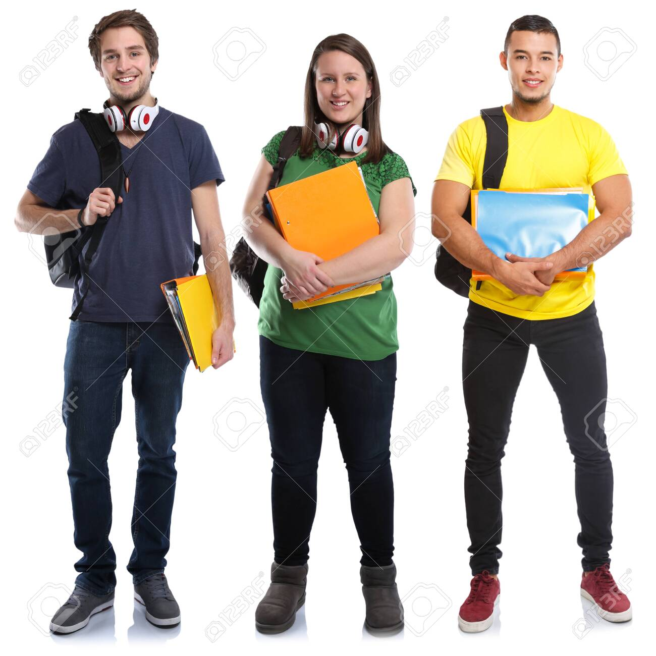 Students study education young people isolated on a white background - 123664778