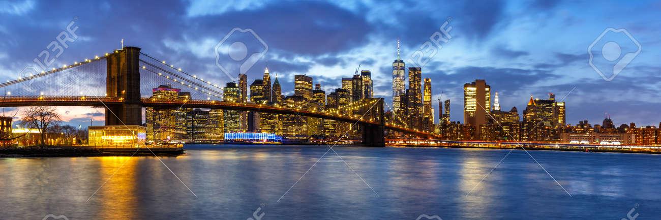 New York City skyline night Manhattan town panoramic view Brooklyn Bridge World Trade Center - 159272133