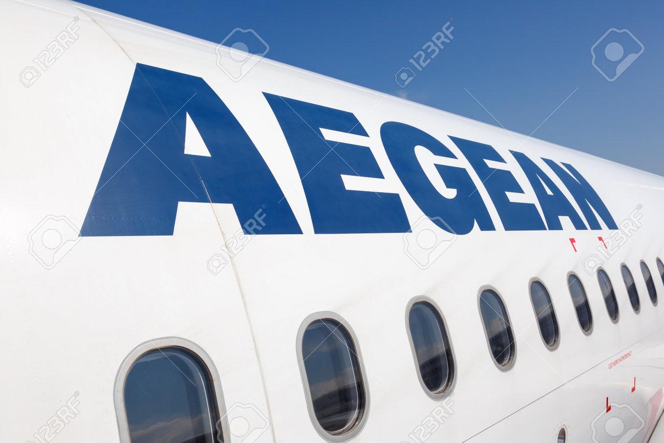 Heraklion, Greece - September 14, 2018: Aegean Airlines Logo Airbus airplane at Heraklion Airport (HER) in Greece. - 162282687