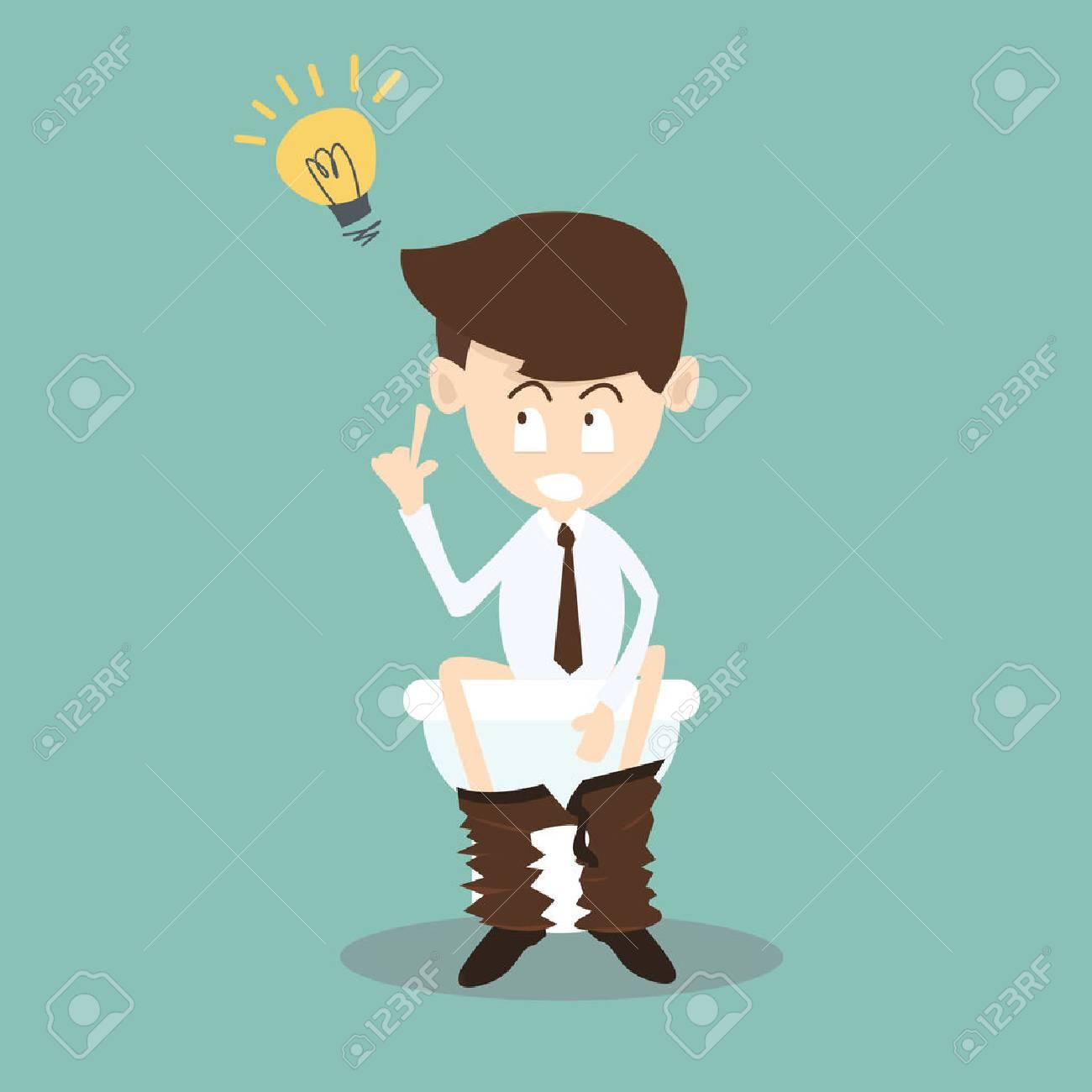 Geschäftsmann In Der Toilette Get Idee, Business-Konzept Lizenzfrei ...
