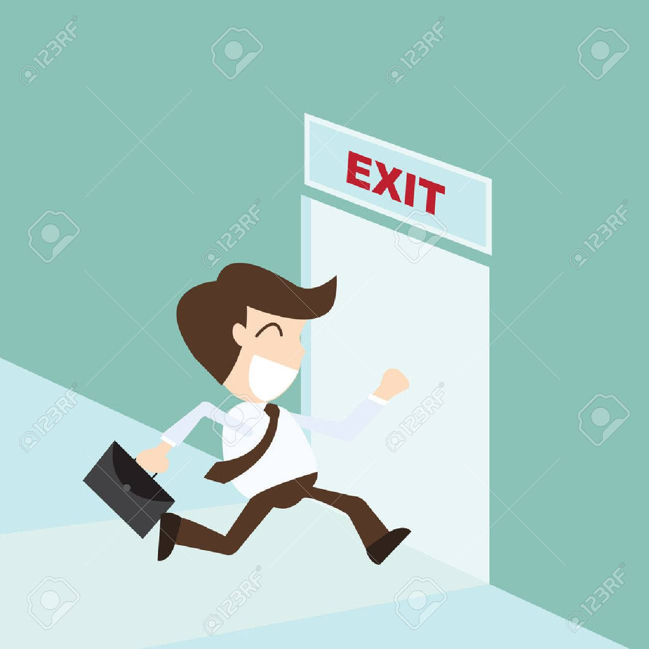Emergency stop icon clipart emergency off - Emergency Stop Exit Businessman Running Exit Door Sign Emergency