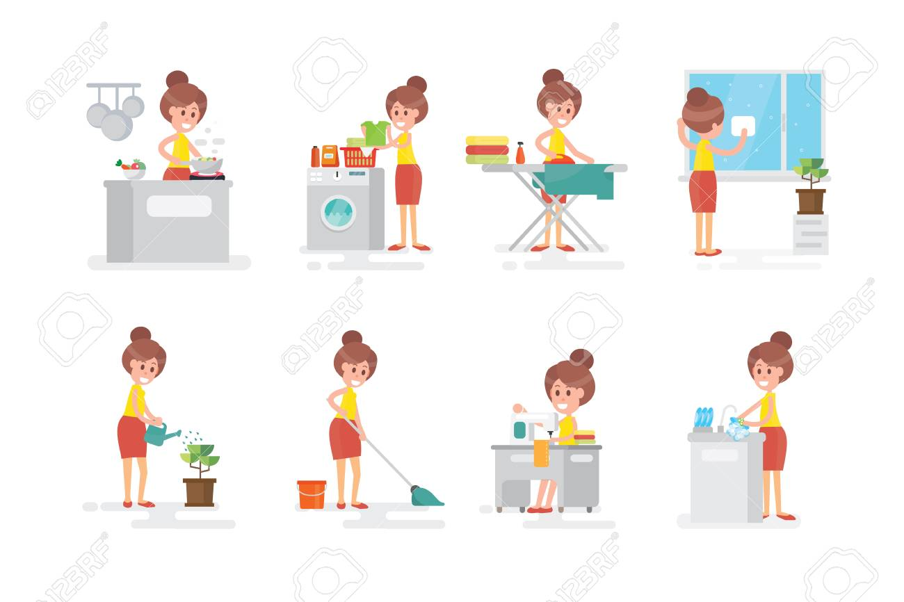 set of woman housewife doing various household chores on white