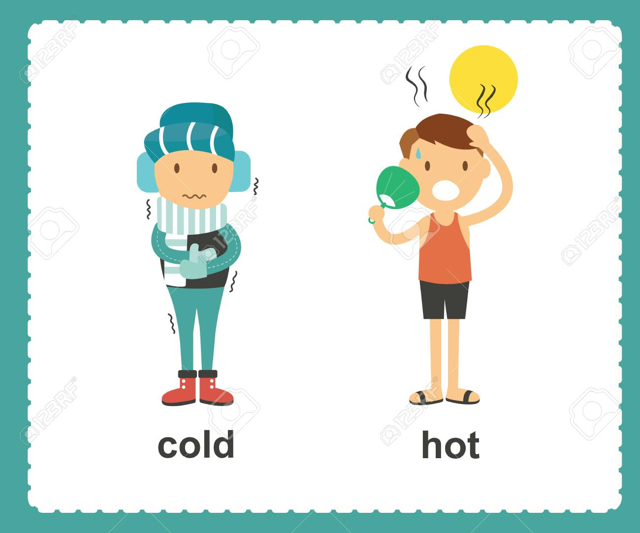 Opposite English Words cold and hot vector illustration - 99938899