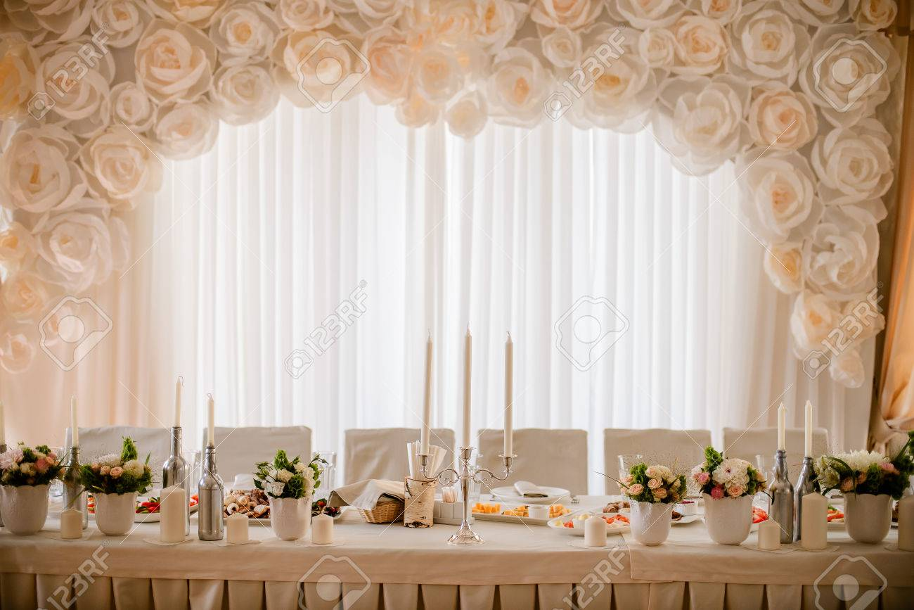 Tables decor in the restaurant on wedding day pastel decorations stock photo tables decor in the restaurant on wedding day pastel decorations indoor junglespirit Gallery