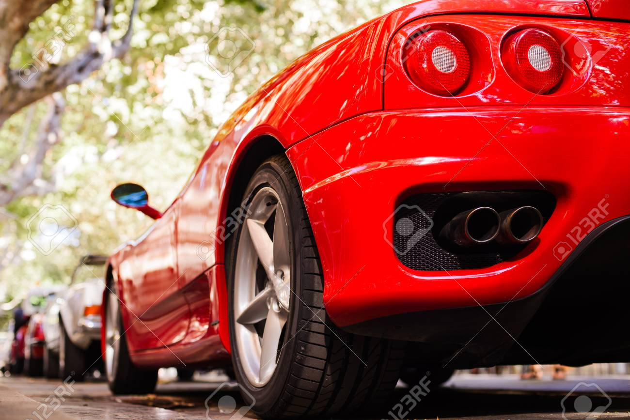 Back View Of Red Ferrari Exhaust And Headlights Stock Photo Picture And Royalty Free Image Image 113169426