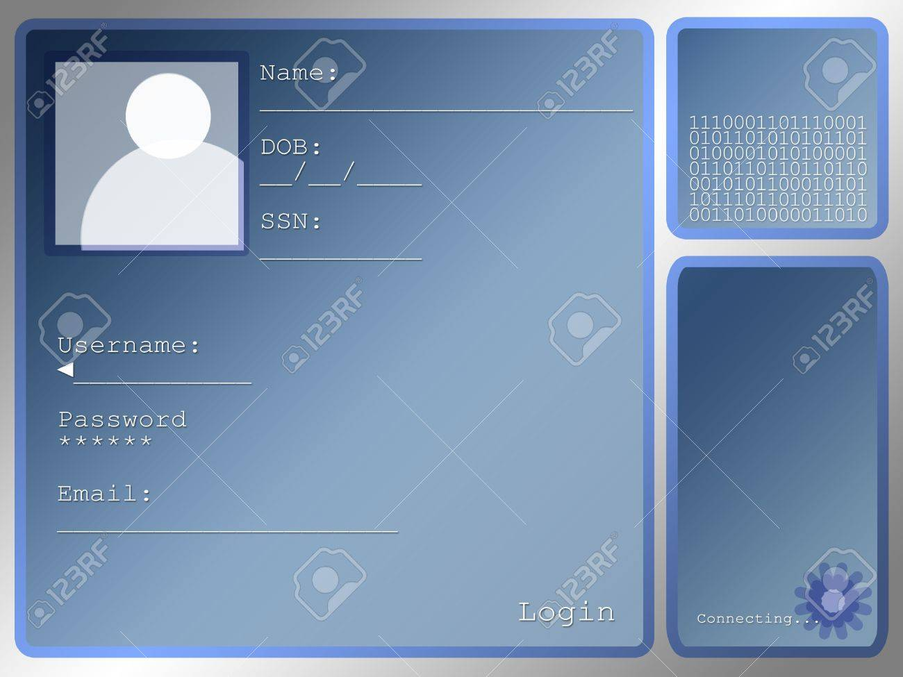 Large Blue Login Screen Layout With Portrait Box Stock Photo - 3314933