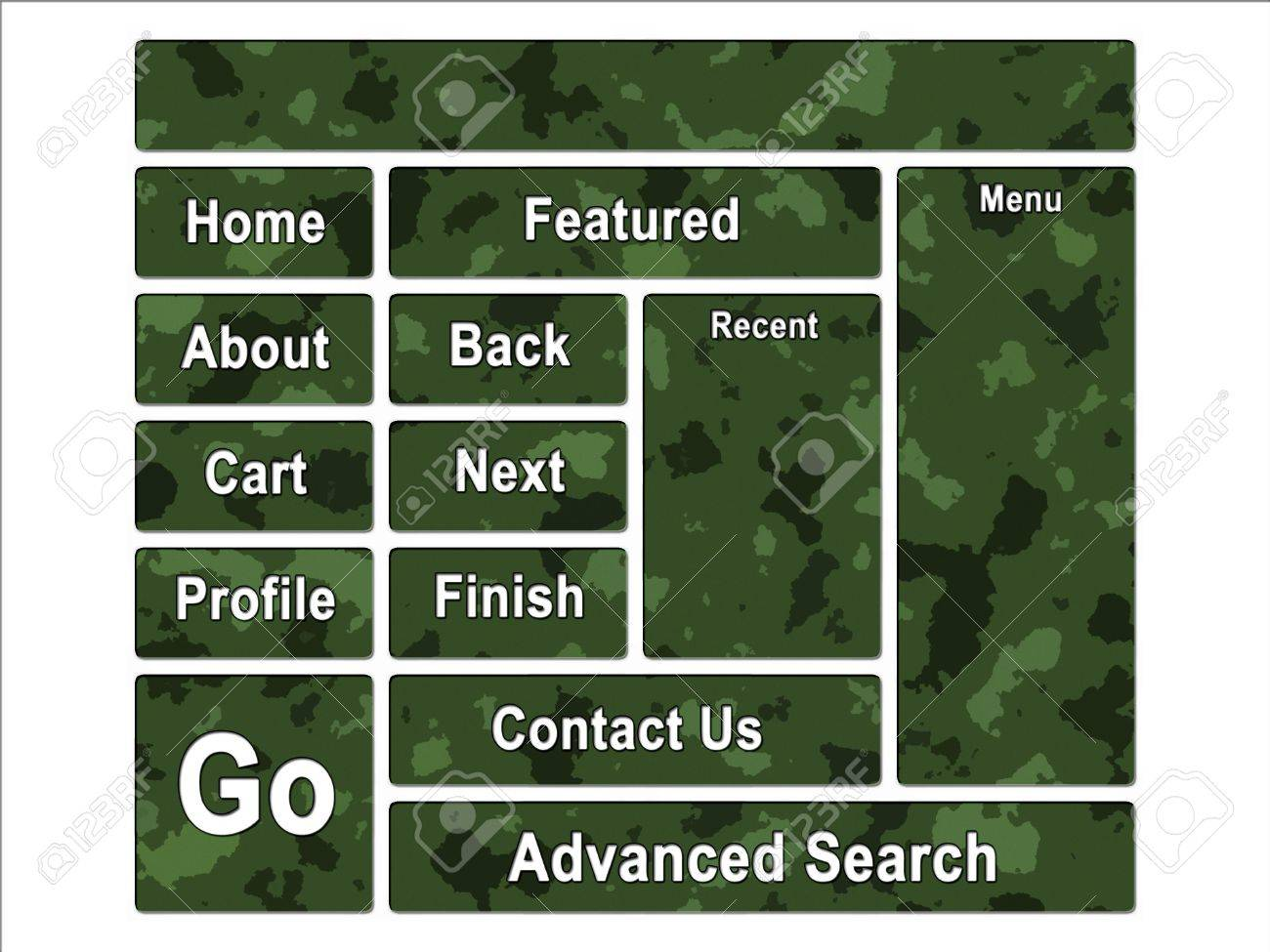 Green Jungle Army Camouflage Website Navigation User Interface Buttons Stock Photo - 3380034
