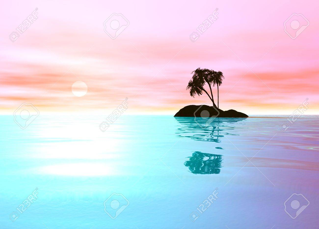 Romantic Pink Desert Island with Palm Tree Sillhouette against the Horizon Stock Photo - 3799721