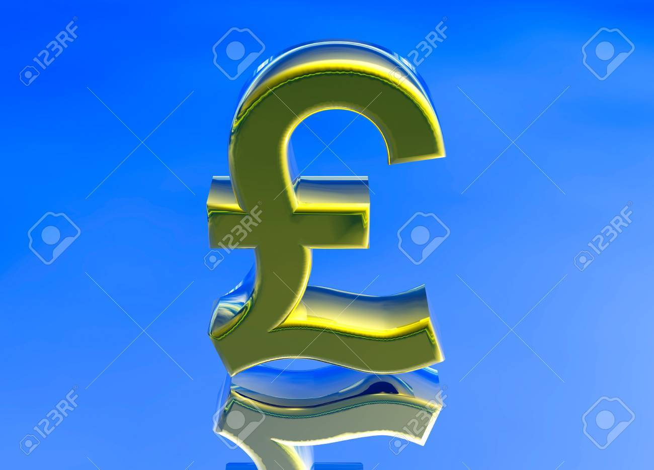 Gold Uk Gbp Pound Sterling Currency Symbol On Blue Background Stock