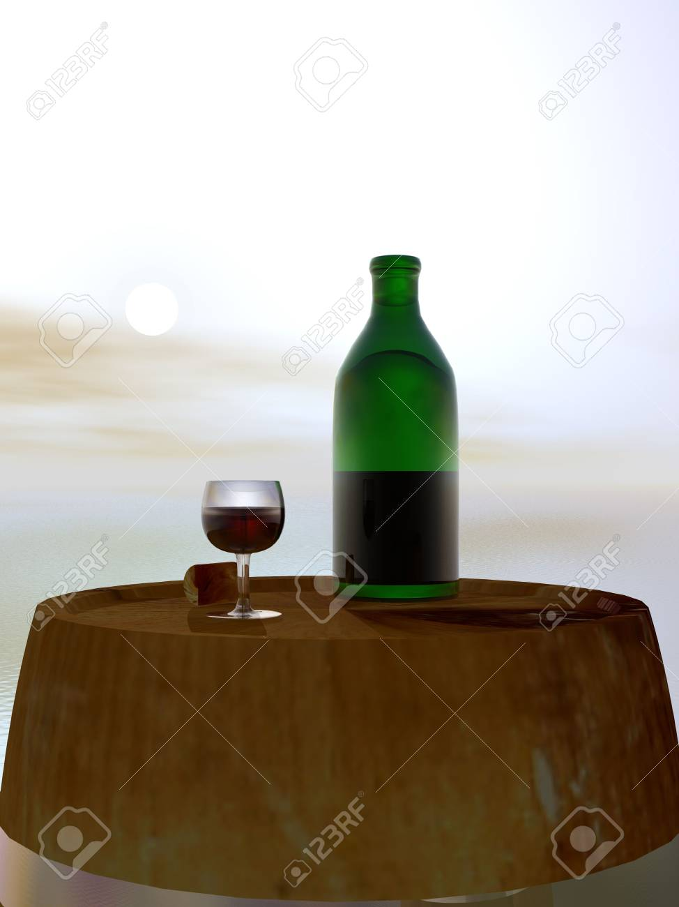 Green Bottle and Glass of Wine on Barrel Keg Stock Photo - 3846710