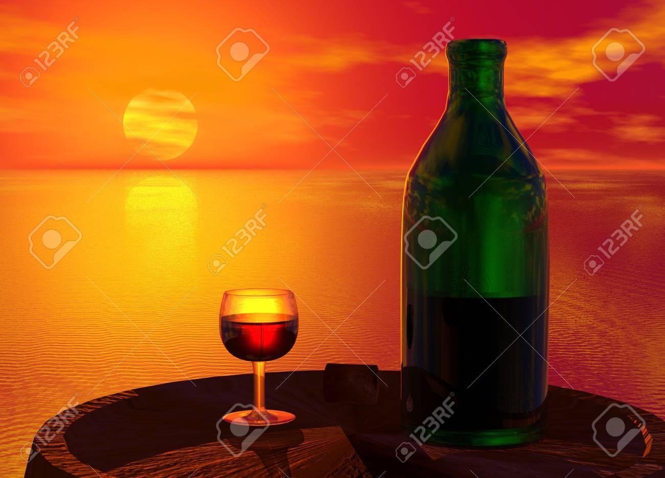 Green Bottle and Glass of Wine on Barrel Keg Stock Photo - 3846726