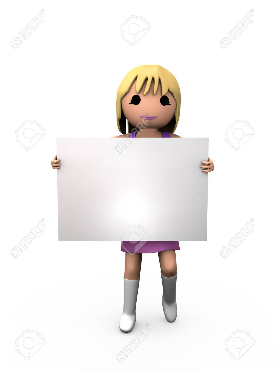 3D Blonde Woman Holding Blank Paper Shaded Copyspace - 7841831