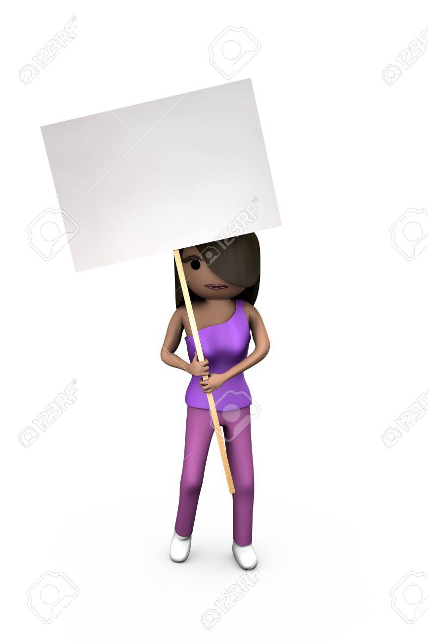 Black Modern 3D Woman Holding Protest Placard Shaded Copyspace - 7841834
