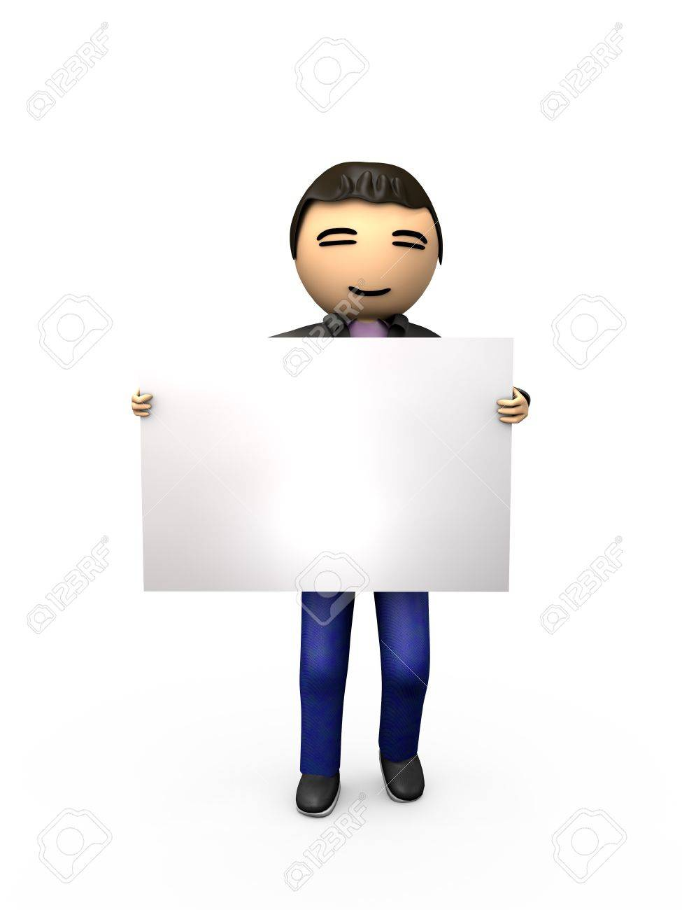 Oriental Asian 3D Guy Holding Blank Sign Shaded Copyspace - 7841836