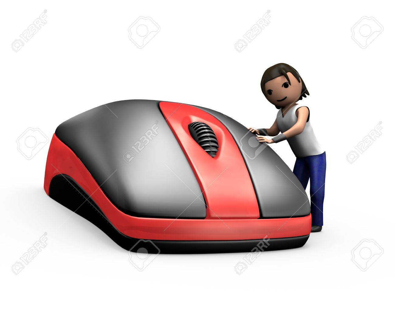 3d Render of Young Guy Clicking PC Mouse - 7841846
