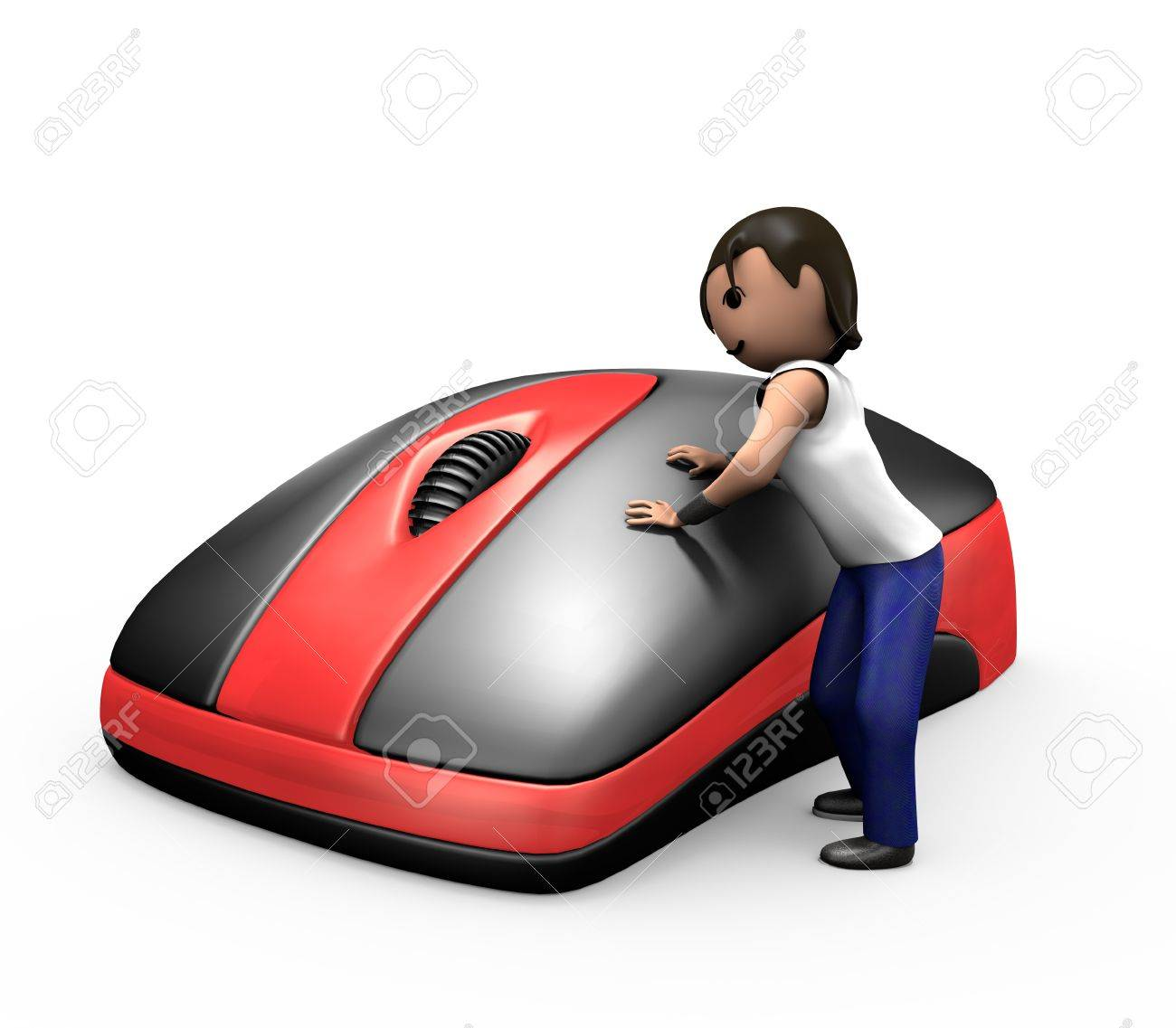 3d Render of Young Guy Clicking PC Mouse - 7841847