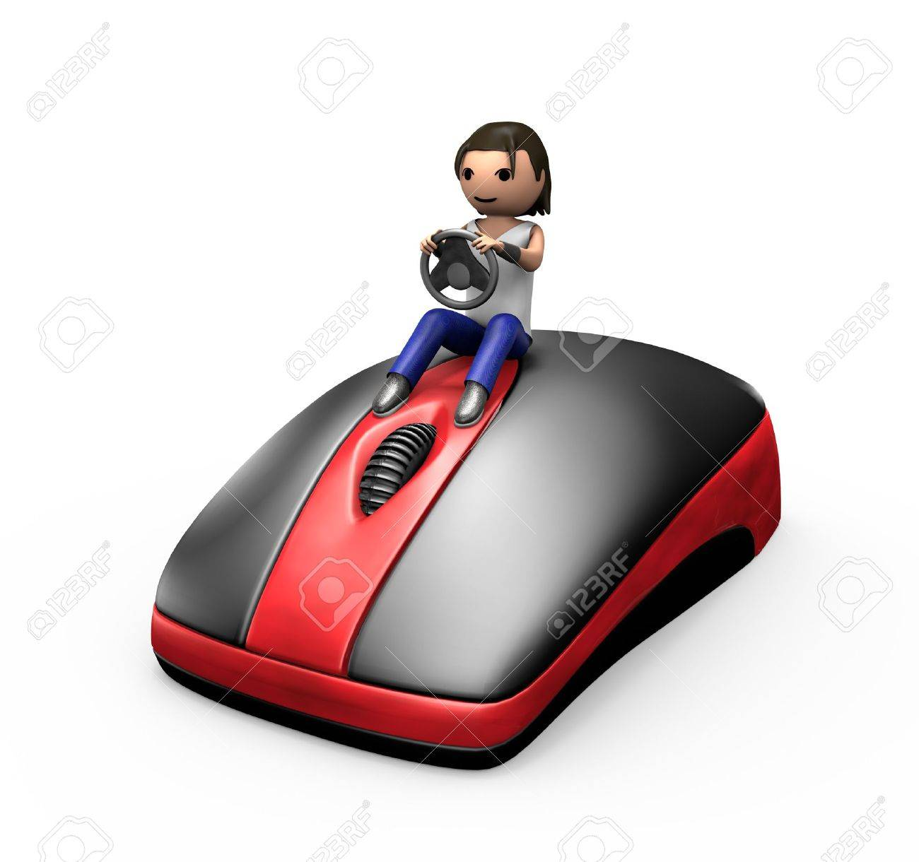 3d Young Male Driving a PC Mouse like a Car - 7841843