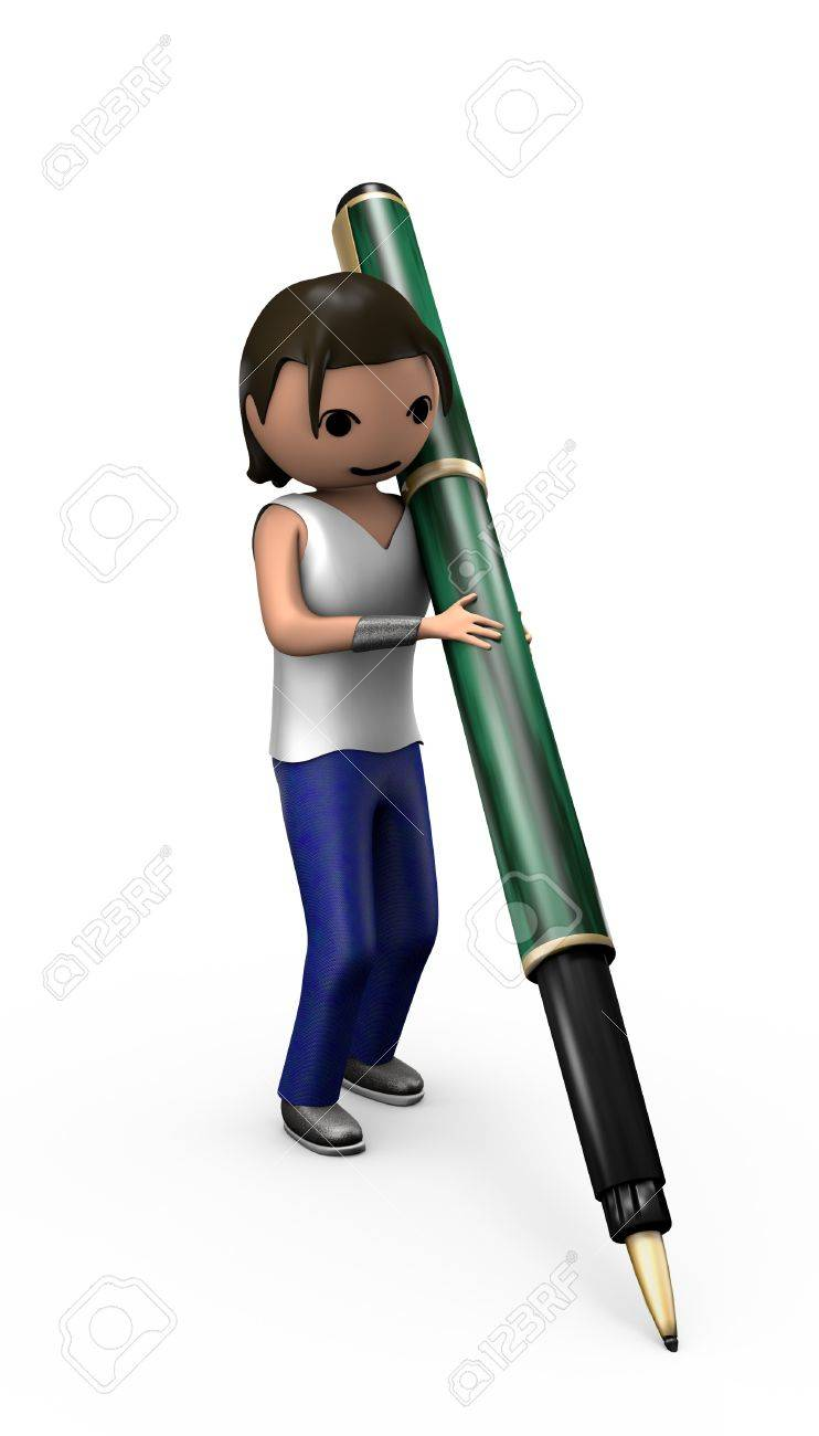 Young 3d Male with Ballpoint Pen posed to Sign document - 7841827