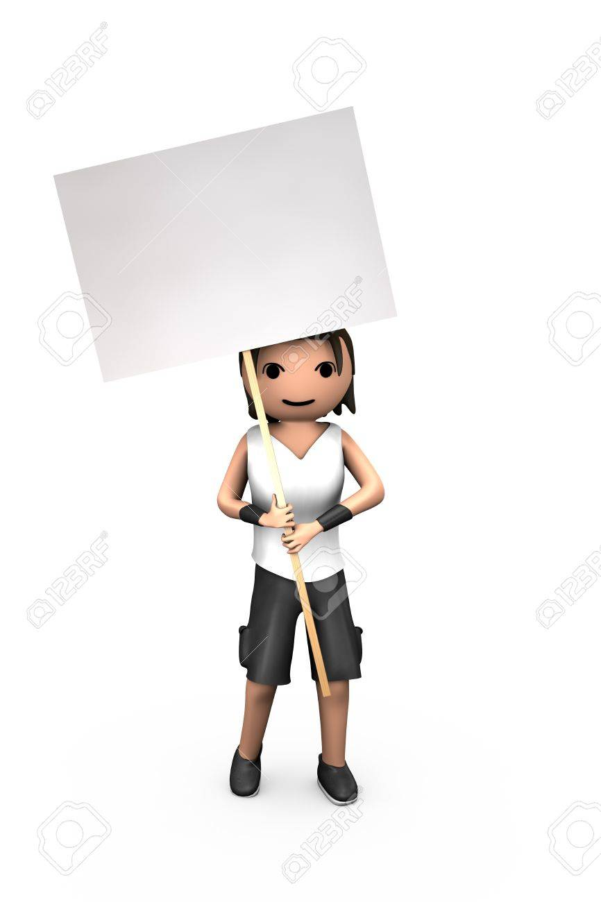Young White 3D Male Holding Blank Protest Placard - 7841841