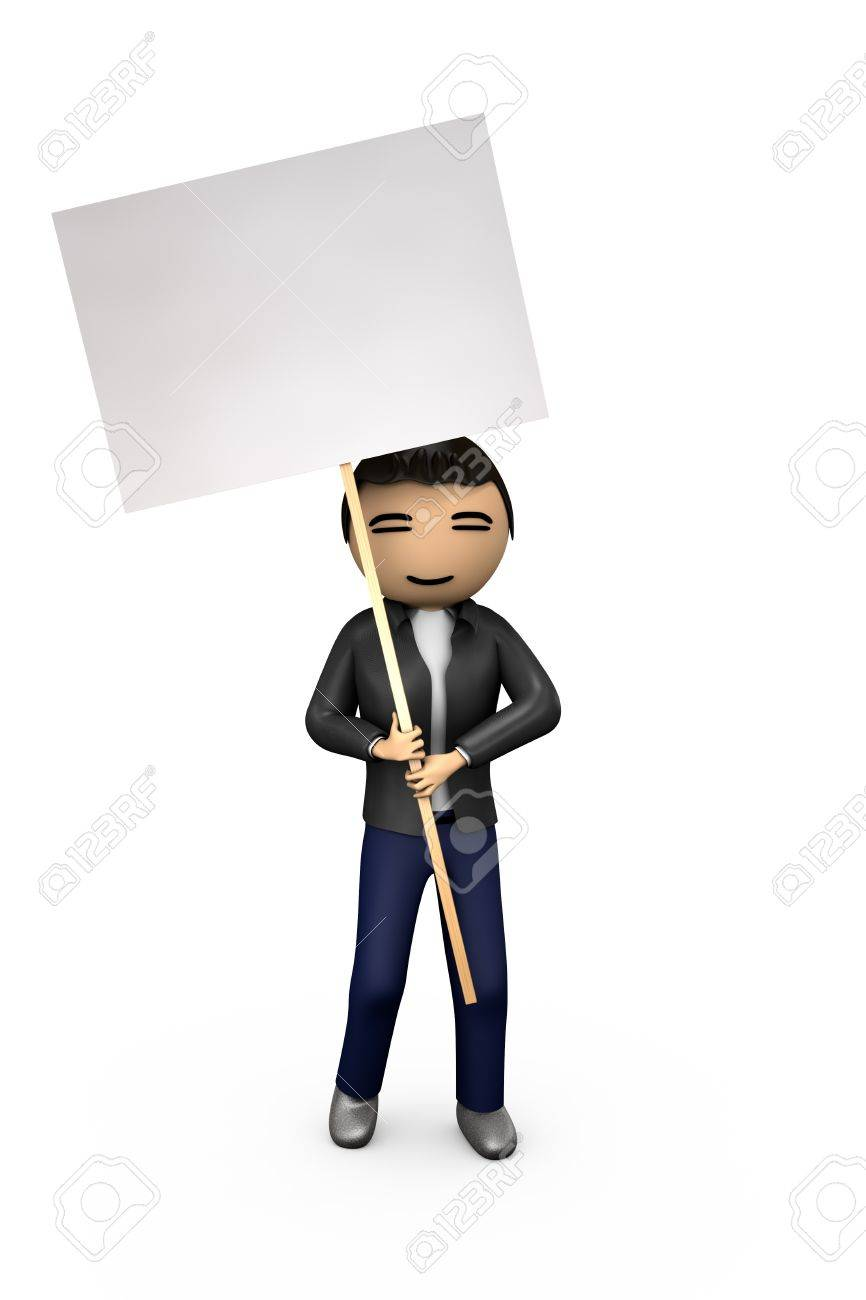 Oriental Asian 3D Guy Holding Blank Protest Placard - 7841842