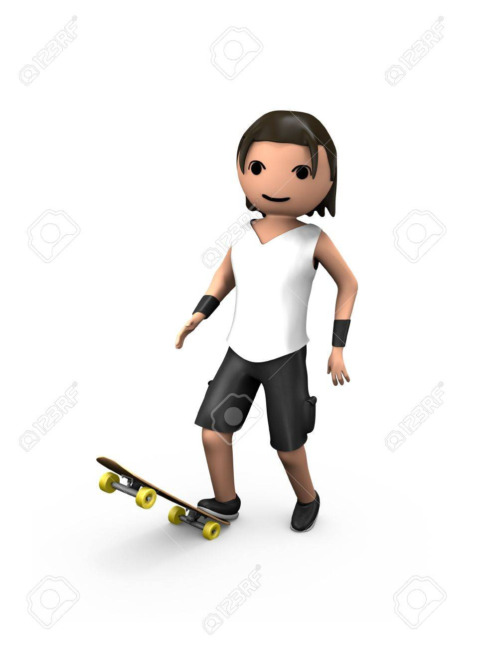 Young White 3D Guy Standing on Skateboard Looking at Viewer - 7841837