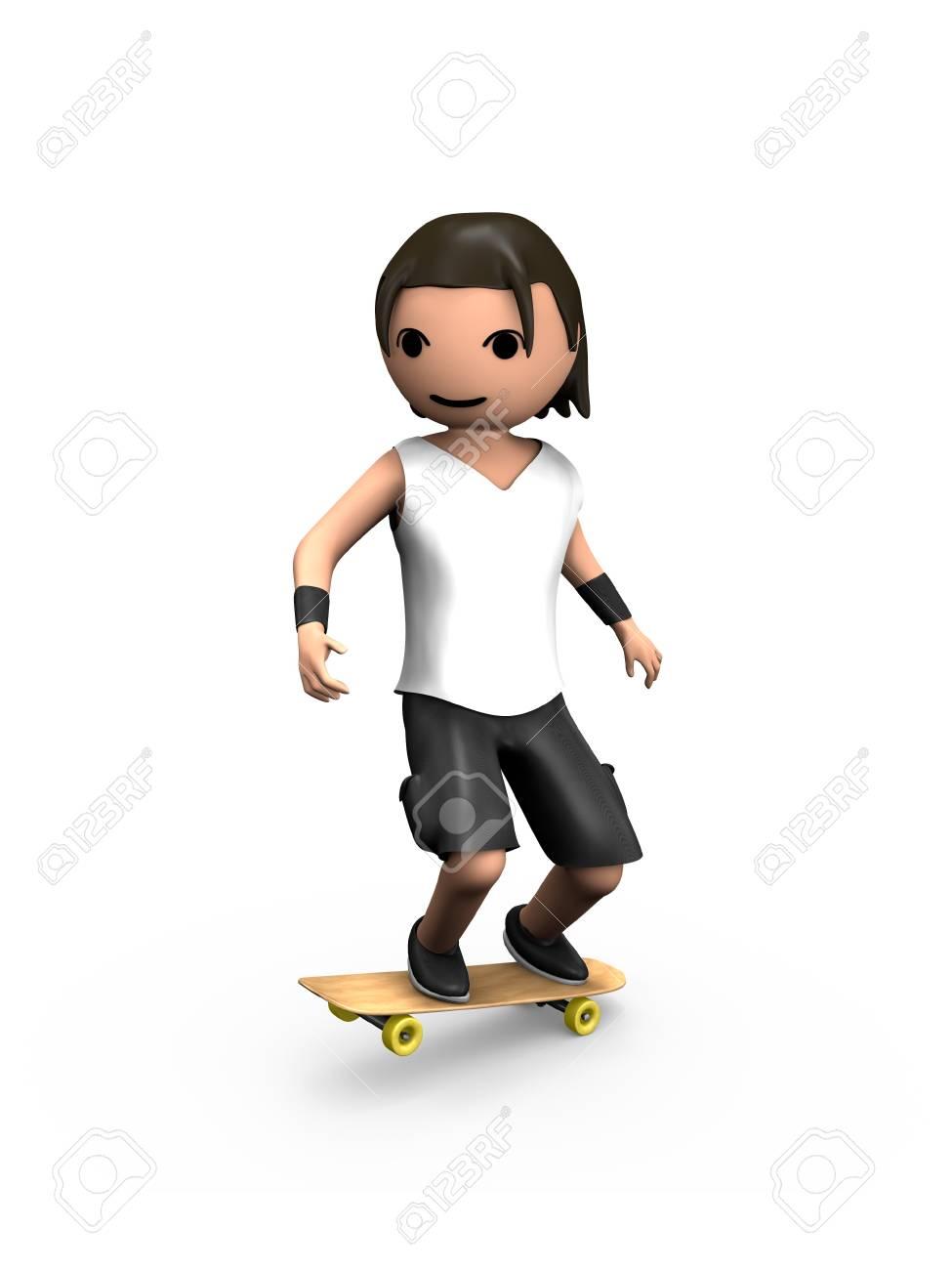 Modern 3D Man Performing Trick on Wooden Skateboard - 7841840