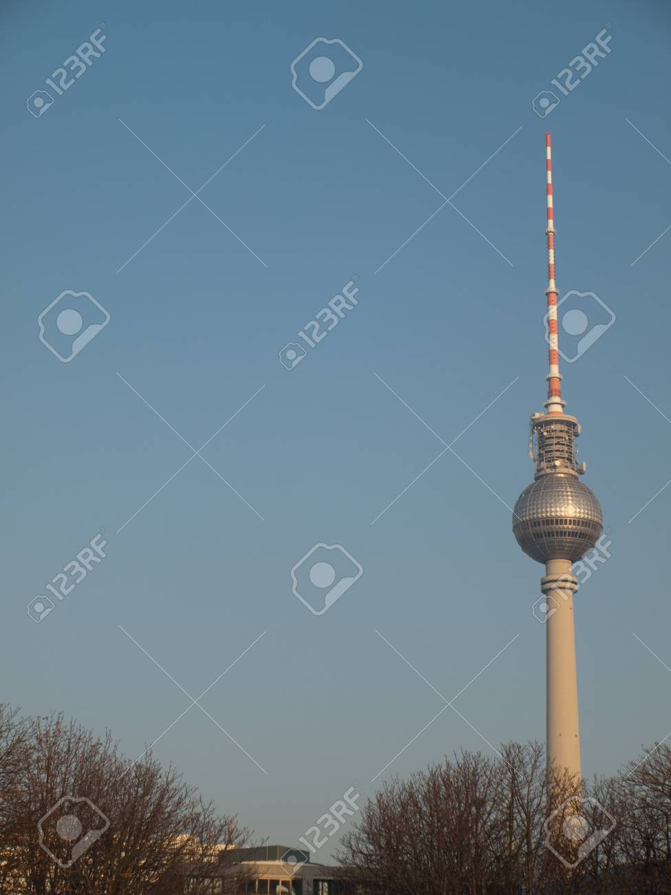 Berlin TV Tower, Germany with Blue Sky Copyspace Stock Photo - 13704342