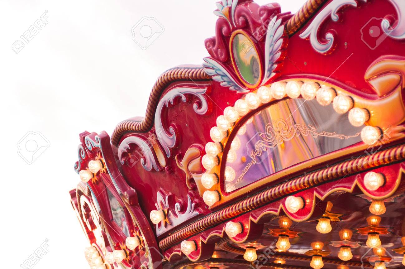 close up of carnival carousel swing ride at fair stock photo