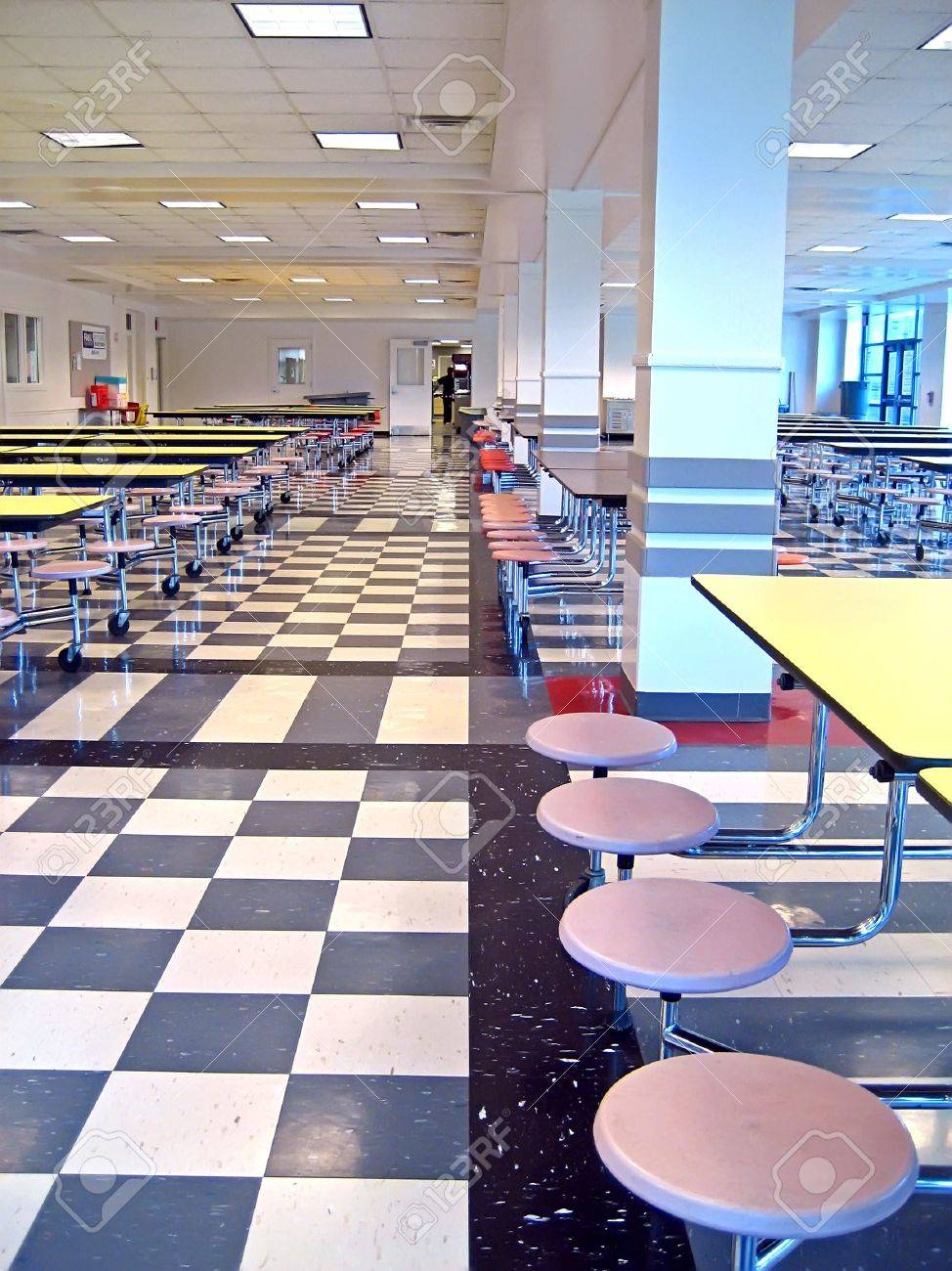 Clean cafeteria tables - Clean School Cafeteria With Many Empty Seats And Tables Stock Photo 608377