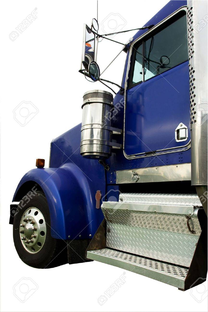 large heavy blue truck isolated on white Stock Photo - 2465677