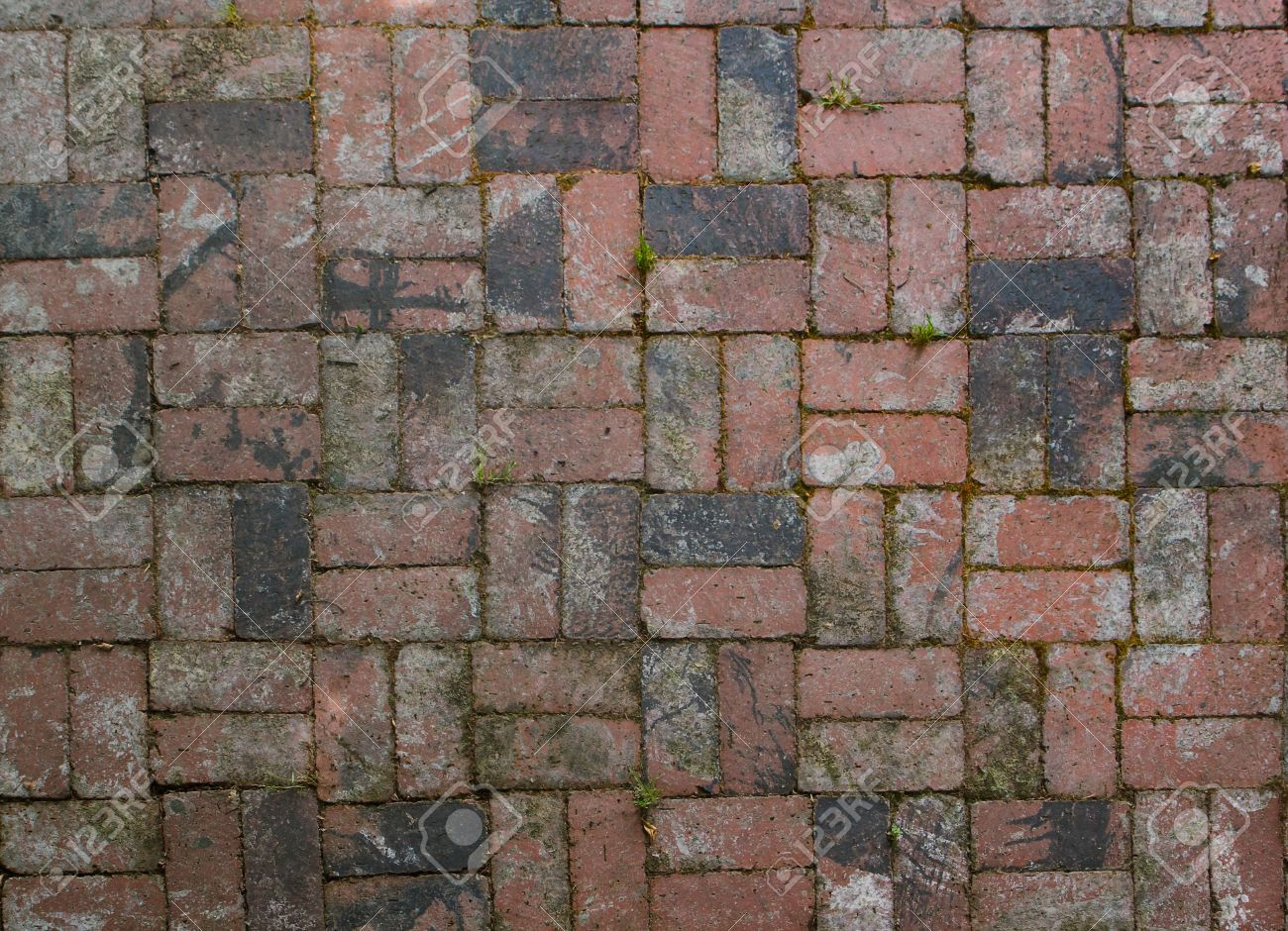 Old Factory Brick Used In Alternating Pattern Patio Floor Stock Photo    7036217