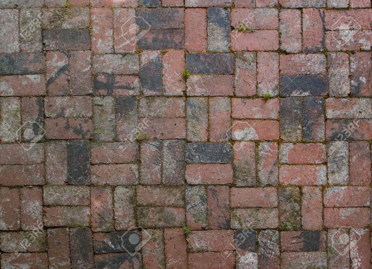 Old Factory Brick Used In Alternating Pattern Patio Floor Stock